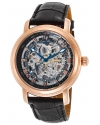 Men's Paragon Rose Gold-Tone Stainless Steel Automatic Watch with Black Leather Band