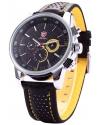 Men's Quartz  Movement Date Black Yellow Sport Watch