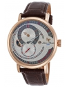 Supernova Regulator Auto Brown Leather Silver-Tone Dial Rose-Tone Ss Watch