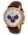 Men's Triomf Quartz Stainless Steel and Leather Automatic Watch, Brown