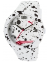 Form XL White Silicone and Dial Black Ink Splattered Watch