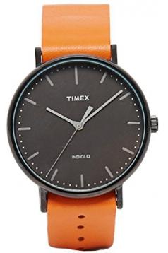 Weekender Fairfield Black Dial Orange Leather Band Analog Watch