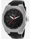Wristwatch steel case, black silicone strap