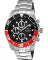 Men's Pro Diver Chrono Ss Black Dial Red and Black Bezel Watch