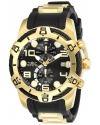 Men's Bolt Black Dial Yellow Gold Steel and Black Silicone Strap Chronograph Watch