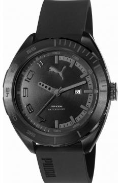 Wristwatch, Mens, Black Steel Case, Black Strap