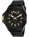 Men's Black Silicone Black Dial Gold-Tone Accents Watch