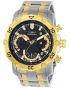 Men's Pro Diver Gold-Tone Steel Bracelet & Case Swiss Quartz Black Dial Analog Watch