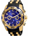 Men's Pro Diver Gold-Tone Polyurethane Band Steel Case Quartz Blue Dial Analog Watch