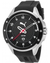 Men's Black Rubber And Dial Stainless Steel Watch