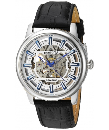 Men's Objet D Art Automatic Stainless Steel and Leather Casual Watch