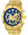 Pro Diver Men 50mm Stainless Steel Gold Blue dial Quartz