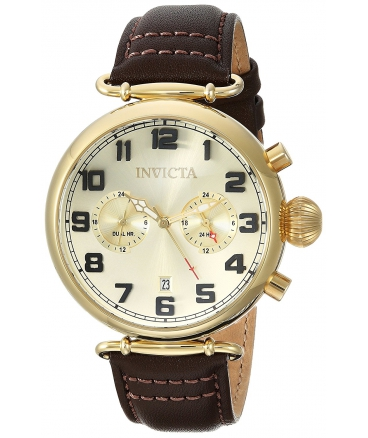 Men's Aviator Quartz Gold-Tone and Leather Casual Watch
