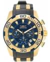 Men's Pro Diver Gold-Tone Polyurethane Band Steel Case Swiss Quartz Blue Dial Analog Watch