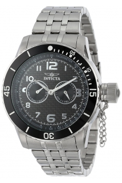 Men's Specialty Black Carbon Fiber Dial Stainless Steel Watch