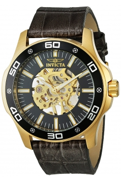 Men's Specialty Mechanical Hand Wind Gold-Tone and Leather Casual Watch