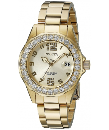 Women's Pro Diver 18k Gold Ion-Plated Stainless Steel Watch with Crystals