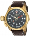 Men's Aviator Quartz Stainless Steel and Leather Casual Watch