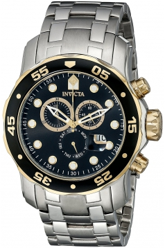 Mens Pro Diver Scuba Swiss Chronograph Black Dial Stainless Steel Bracelet Watch