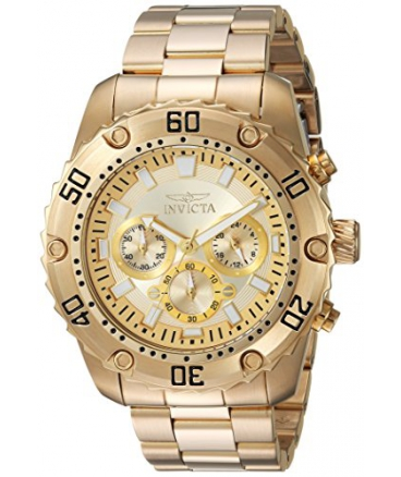 Invicta Men's 'Pro Diver' Quartz Stainless Steel Casual Watch, Color:Gold-Toned (Model: 24835)