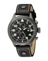 Men's Specialty Collection Stainless Steel Watch with Black Faux Leather Band