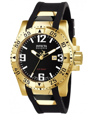 Men's Reserve Collection 18k Gold-Plated and Black Rubber Watch
