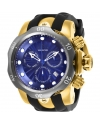 Men's 52mm Venom Swiss Chronograph Blue Dial Gold Tone Stainless Steel Watch