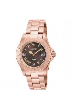 Women's Angel Rose Gold-Tone Steel Bracelet & Case Quartz Brown Dial Analog Watch