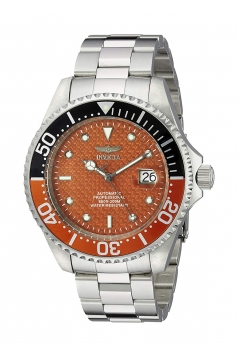 Men's Pro Diver Silver-Tone Stainless Steel Orange Automatic Watch