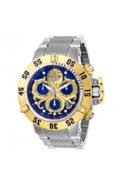 Men's Subaqua Quartz Chronograph Blue, Gold Dial Watch