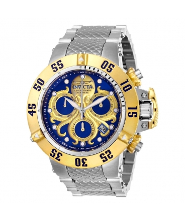 Men's Subaqua Quartz Chronograph Blue, Gold Dial Watch
